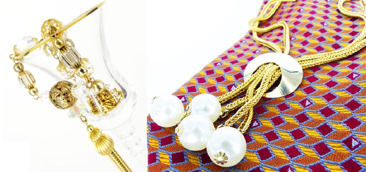 Great authentic old school vintage finds! Elegant crystals and gold/ Mod snake chain & pearls