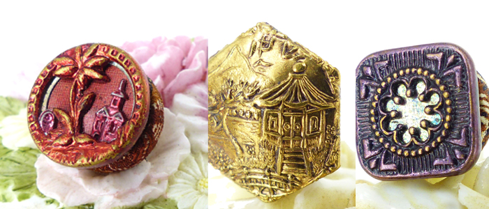 "Examples of upcycled antique pieces from the 1900's. Incredible detailed designs and picture stories told by the artists of their day. Interesting article on our blog "" The History of the Button"" by Charles Dickens."