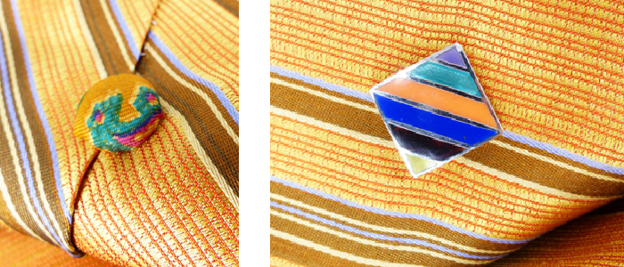 Striped enamel upcycled Mag TAK™  with paisley silk covered back button