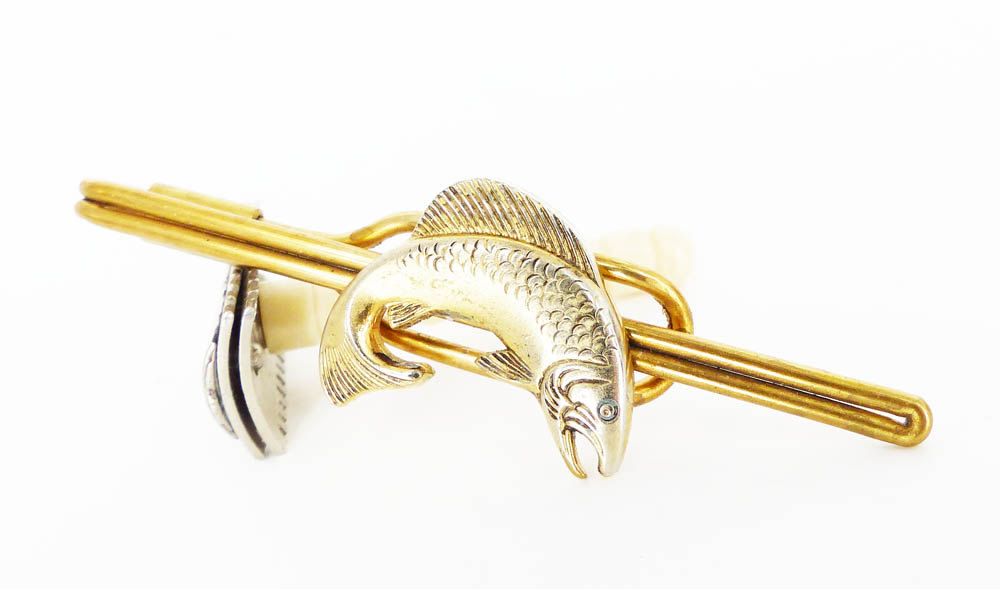Vintage upcycled loop style tie bar. Brass hardware with a  vintage gold salmon fish embellishment .