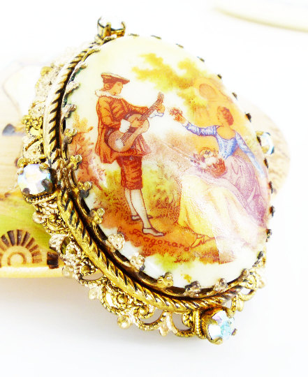 Gorgeous antique filigree & crystal Renaissance scene Brooch. Very romantic. Rich colors and incredible detail. Lapel or hat pin.