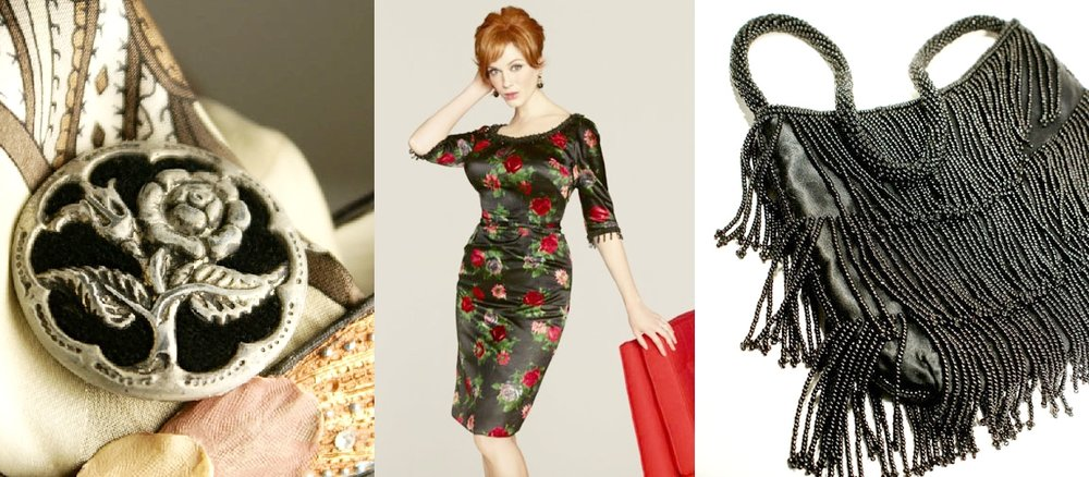 The romance of accessories with Velvet perfume buttons as brooches and a beaded Shag swing beaded black bag (WomansRenaissance on Etsy)