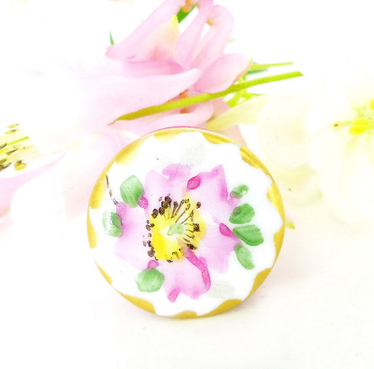 Pink bloom with yellow center Antique Victorian porcelain upcycled magnetic brooch