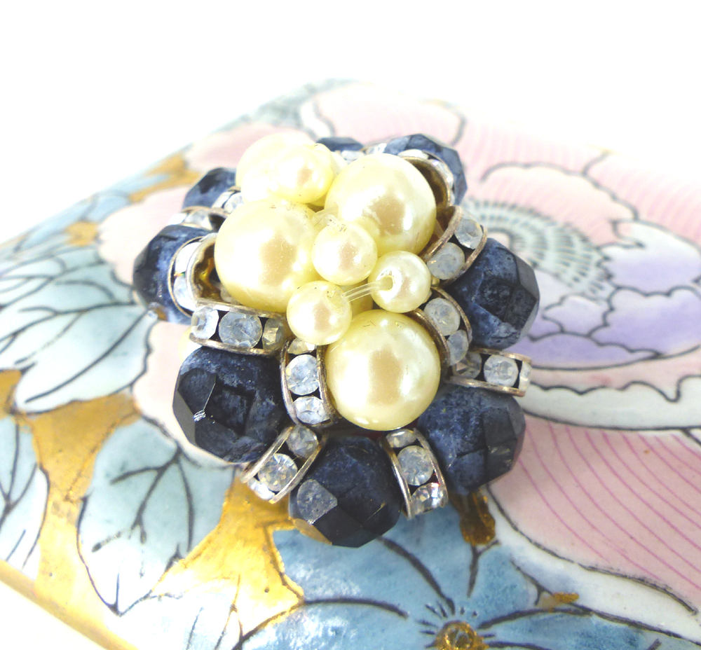 Midnight blue beads, clear crystals and pearls. Magnetic scarf brooch, lapel or hat pin. Silk covered back button.