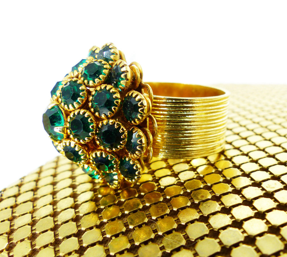 MAD MEN inspired Emerald Dome Cocktail statement ring. Layered rich emerald crystals set in gold