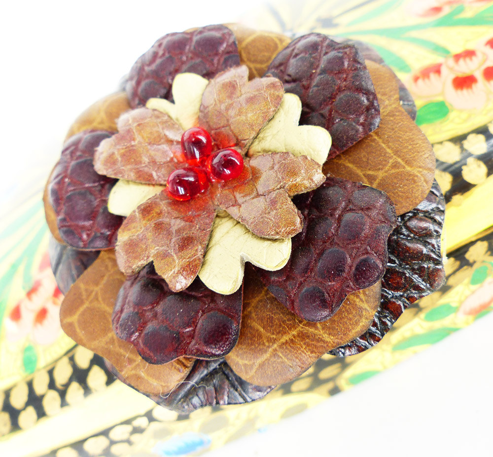 Magnetic brooch, Brown and burgundy textured leather flower magnetic pin. Mauve snake center with scarlet red glass teardrop beads.
