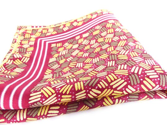 Vintage dead stock european silk pocket square. Cranberry, vanilla and gold abstract design with contrast stitch hem.  His or Hers pocket art