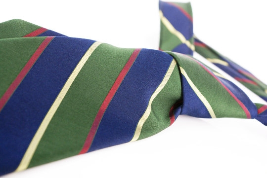 Hasting of San Francisco by Countess Mara NY. Classic woven silk diagonal striped tie in navy, green, yellow & burgundy.  Vintage Preppy. Beautiful thick hand feel fabric.