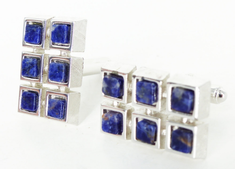 Modern blue goldstone silver cufflinks