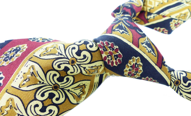 Extra long, Gold, dark rust and black  silk necktie by Wembley . Boardwalk Empire inspired beautiful tie. Buttery soft silk hand feel.