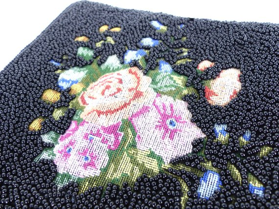 Black seed beaded purse zipper pouch with beautiful embroidered needlepoint antique rose detail