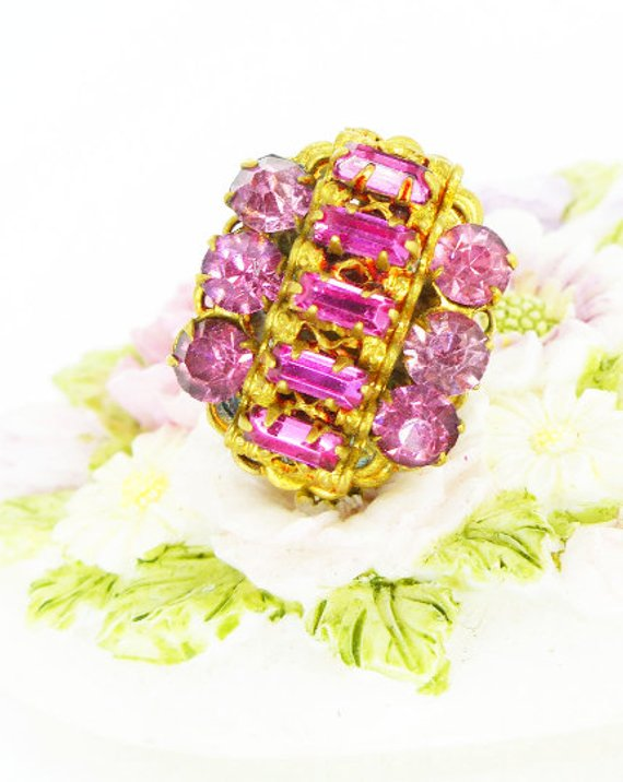 pink baguette crystal, antique gold prong setting. Mag TAK™