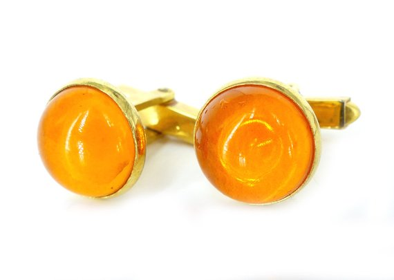 Vintage Anson tangerine glass & gold domed cufflinks
