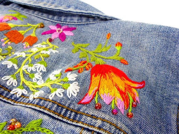 Botanical embroidered denim