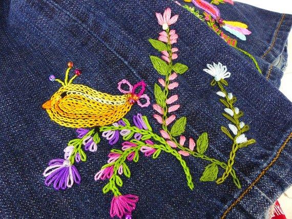 boho bird jean jacket