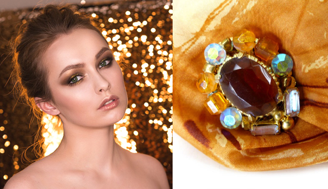 Drop dead gorgeous magnetic brooch or scarf pin. Deep topaz with iridescent crystals from  Woman's Renaissance