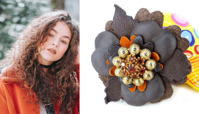 Layered leather & suede magnetic flower pin worn on jackets, scarves or hat, from  Woman's Renaissance