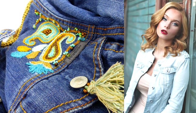 Custom designed and one of a kind, embroidered & beaded denim from  Woman's Renaissance