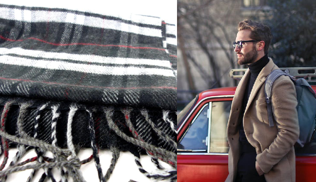 Classic, butter soft plaid cashmere neck scarf muffler from  Modern Renaissance Man