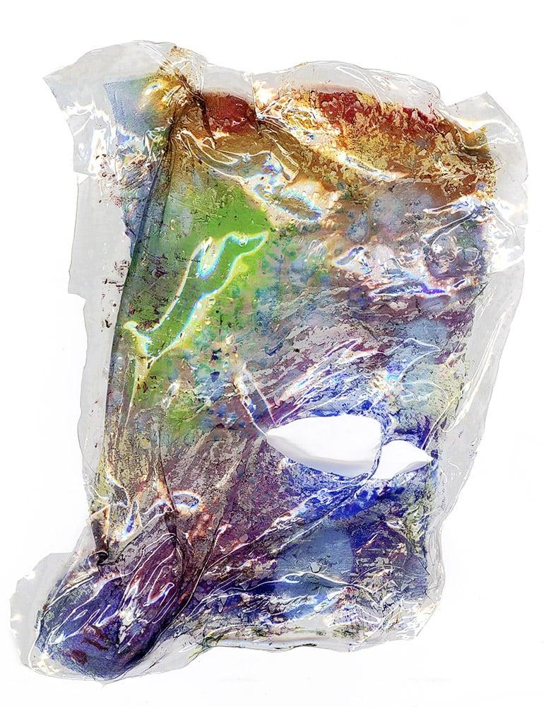 "Inkjet on shrinkwrap,heat manipulated, studio debris, 15cm x 10cm (6"" x 4""), 2013-2014"