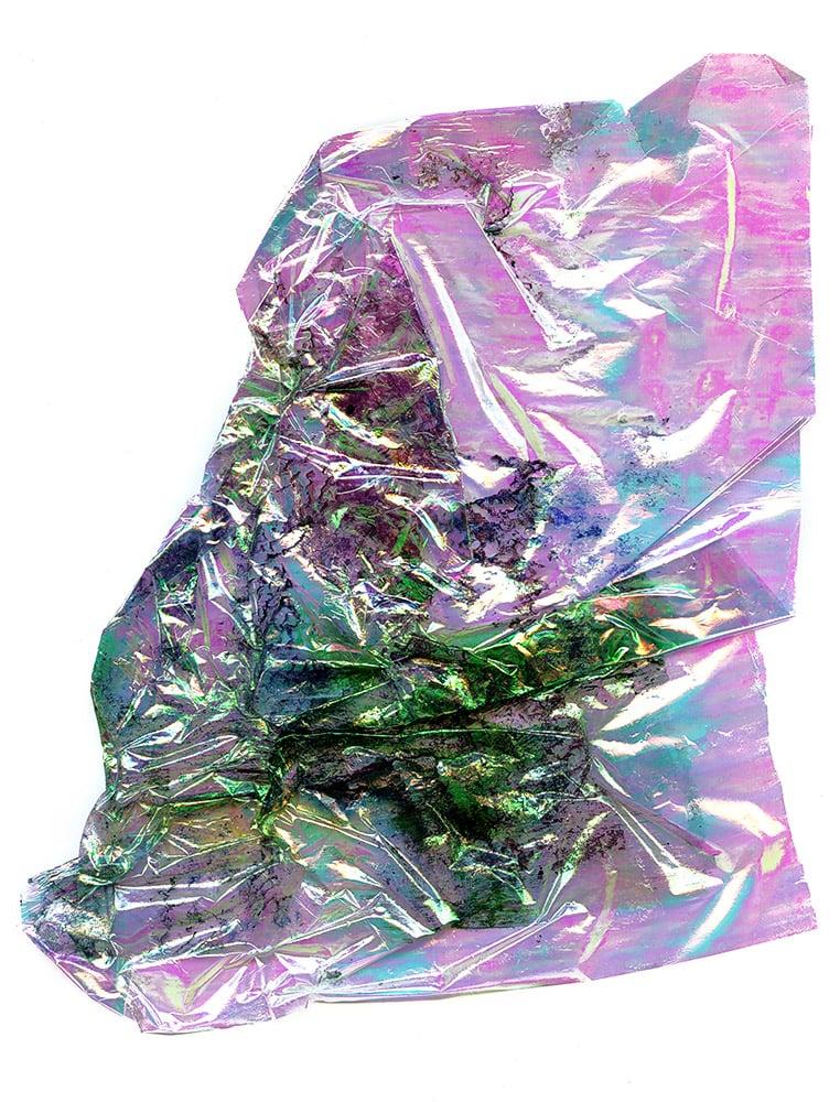 "Inkjet on cellophane, studio debris, 18cm x 13cm (7"" x 5.25""), 2012-2014"
