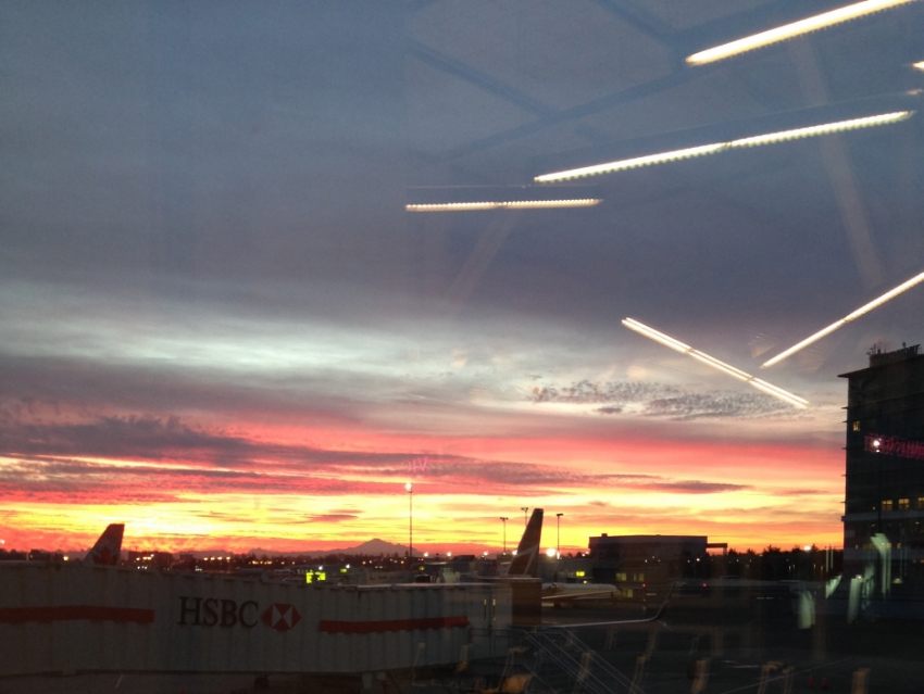 A stunning sunrise is one of the bonuses of an early morning flight from YVR
