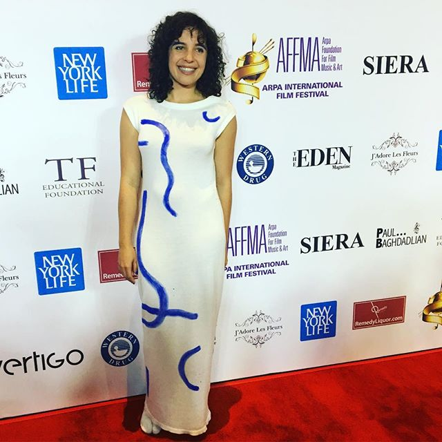 Co-writer, actor, producer, @rebeccakarpovsky at @arpafilmfestival for the LA premiere of our feature  @pinskythemovie in the fabulous original dress by local NYC designer @juliasereginaofficial.