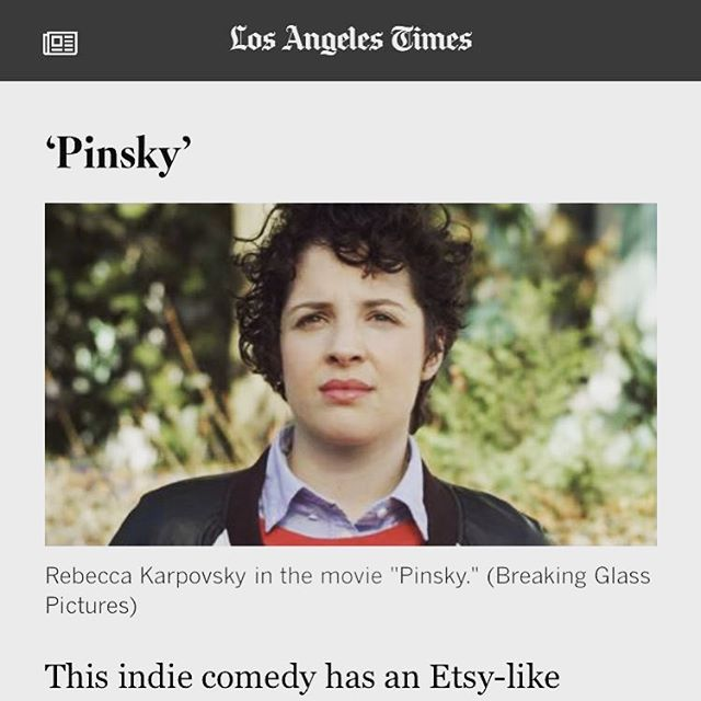 """""""What sets 'Pinsky' apart from similar films is its fresh voice... Directed by Lundquist in her feature debut, """"Pinsky"""" is brightened by colorful animations and Karpovsky's winning performance as the spirited, sarcastic Sophia...there's plenty to admire in this frank, funny film."""" - Kimber Myers, @latimes First theatrical screening today in Los Angeles at @arenacinelounge 3:40 & 5:00PM!! We are also excited to announce our partnership with @breakingglasspictures, our distributor, who is getting @pinskythemovie out there! Today's screening info in bio. #latimes #review #kimbermyers #theatrical #screening #today #director #actor #writers #filmmakers #losangeles #distribution #announcement #rolling #shaking #pinsky #pinskythemovie @alunkish @rebeccakarpovsky"""