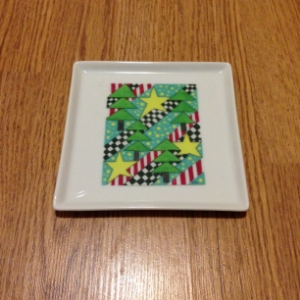 Modern Christmas Trees Square Cocktail Plate