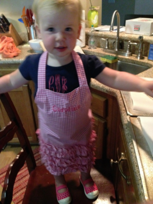 Thanks to my aunt for C's adorable apron!
