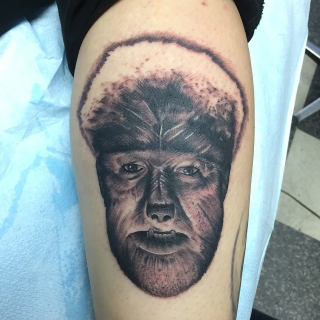 Today's fun. #tattoo #wolfman #lowell #millcity #nofilter
