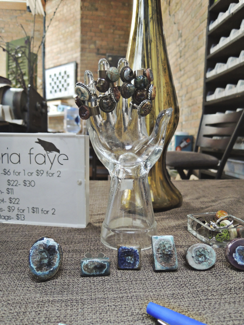 Did you know I make rings?! The rings in front are suppose to look like geodes when actually it's melted car glass.