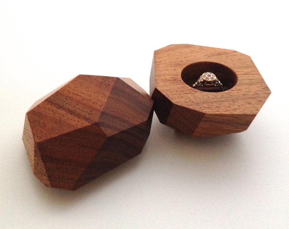 Australian Blackwood Faceted Ring Box from King Secret Sharer