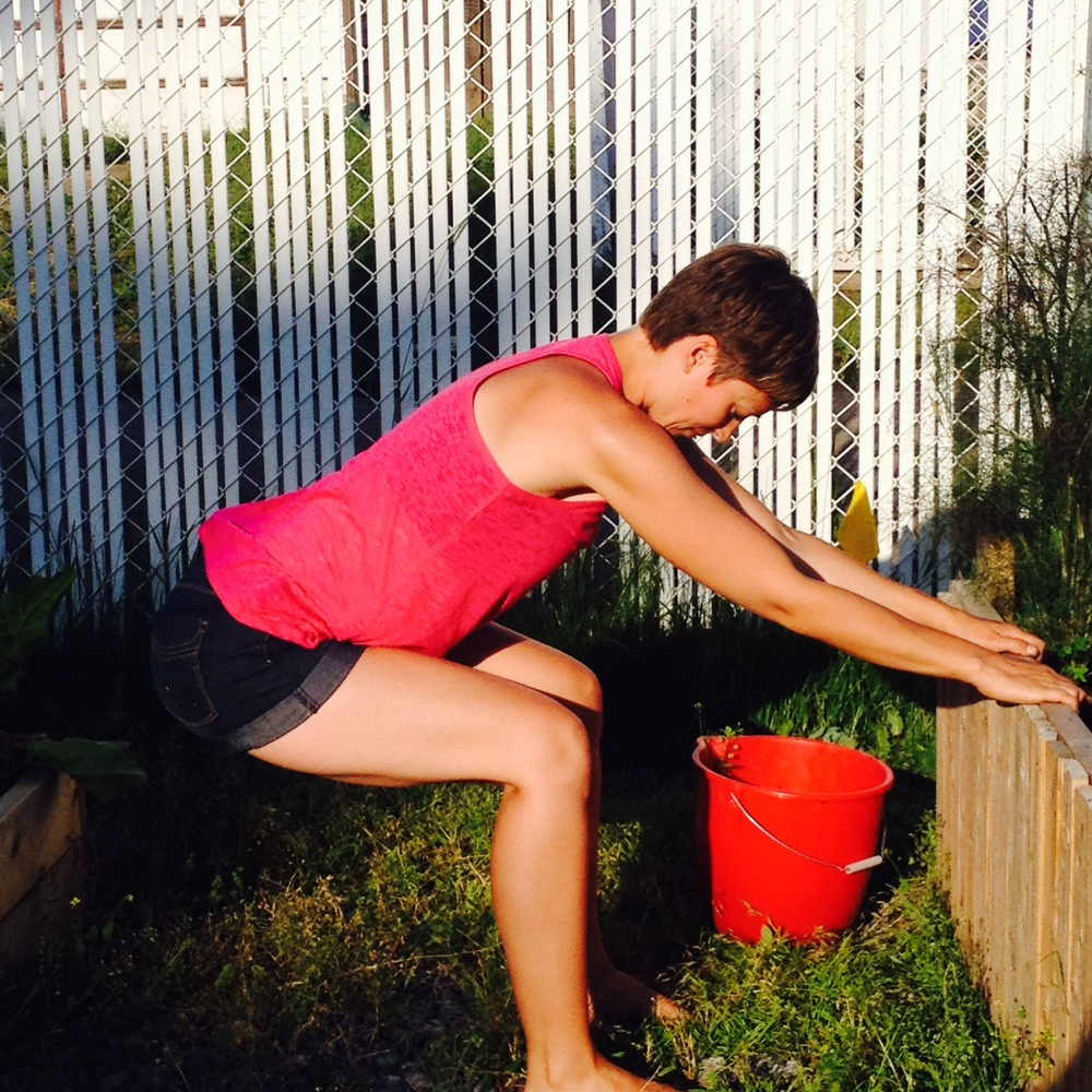 A supported squat helps your hip joints. If you don't have a tall garden bed, use a tree that you can wrap your hands around. Line your knees over your ankles so that your shins are vertical. Stick your butt way out to un-tuck your pelvis. Holding onto something also gives a nice stretch to your shoulders and arms.