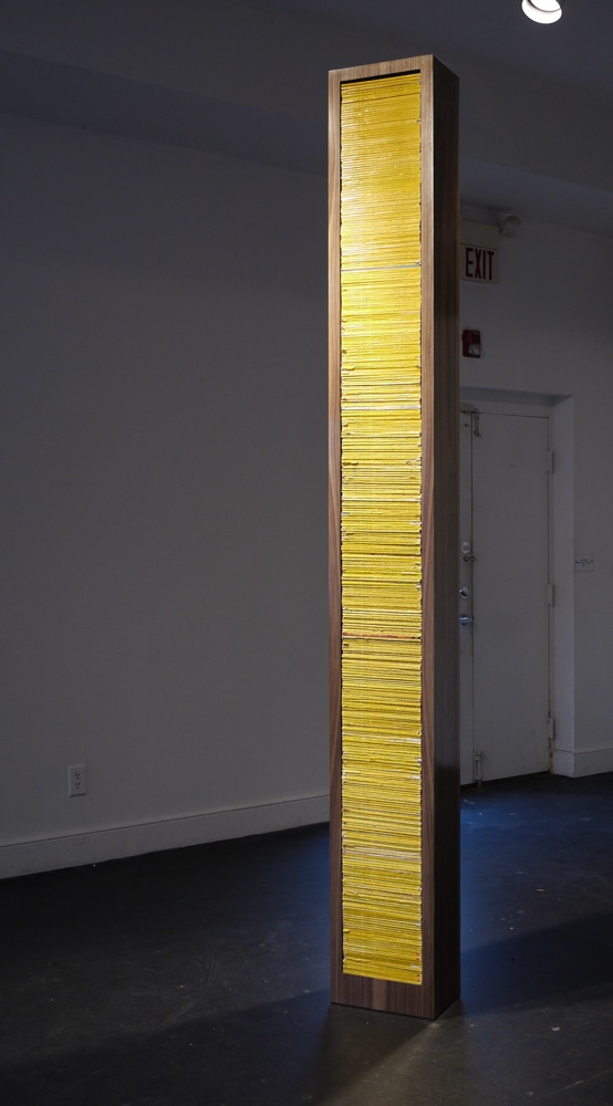 "Saturn Return ,  2010, 10""x13""x9', OSB, hardware, walnut, 30 years of National Geographic Magazine, acrylic clear coat, wax"