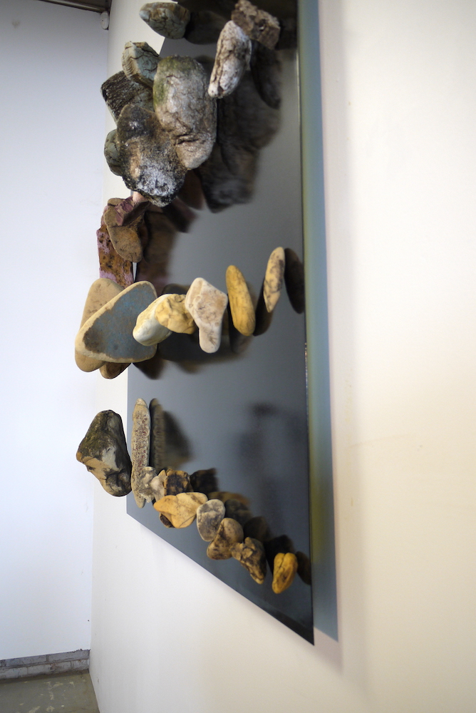 """New Geology, 2015,48""""x48""""x7"""", eroded insulation foam found in the East River, steel plate with metal flake powdercoat, rare earth magnets"""