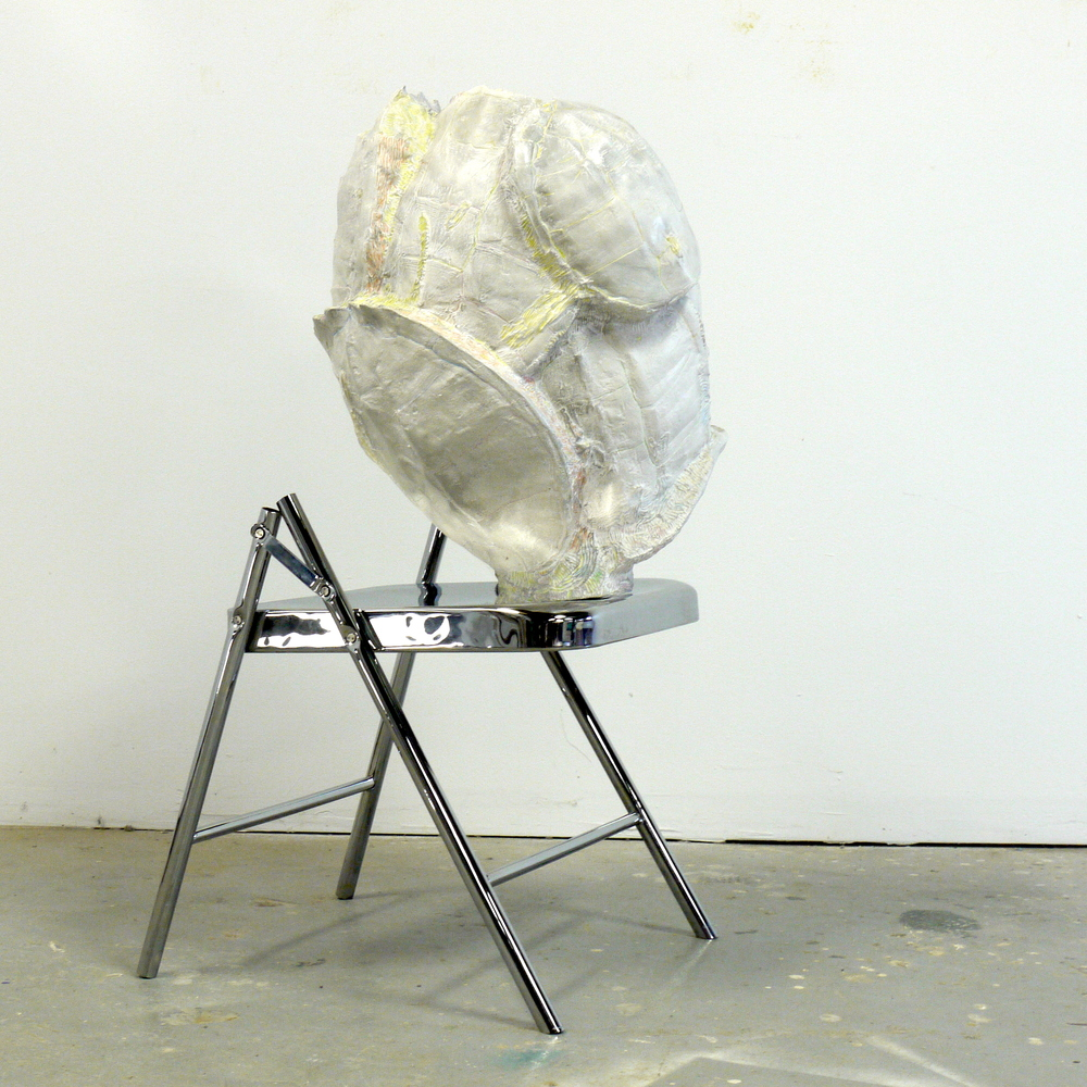 """The Gut, 2014, 21""""x22""""x38"""", chromed folding chair, Forton MG, graphite, color pencil"""