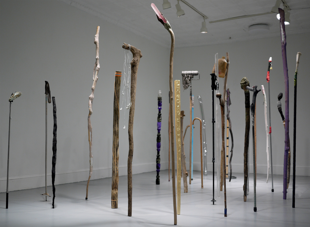 Drifter History, 2015, dimensions variable, found and fabricated walking sticks