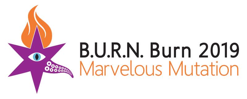 "B.U.R.N. Burn 2019 logo, aka ""BURNie"", by Scott Free"