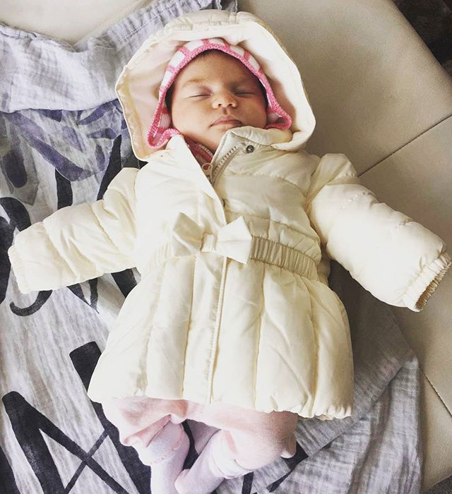 We think she'll grow into it just in time for winter ;) Our #toronto girl is wearing her new #babygap jacket from #preshrunkca and couldn't look more cozy on her @covetedthings swaddle . . . . . . . . . . . . . . . . . . #newborn #babylove #babiesofinstagram #babystyle #cutebabies #torontokid #yyz #the6ix #consciousconsumerism #responsibleconsumerism #consignment #kidsofpreshrunk #gap #covetedthings #citygirl