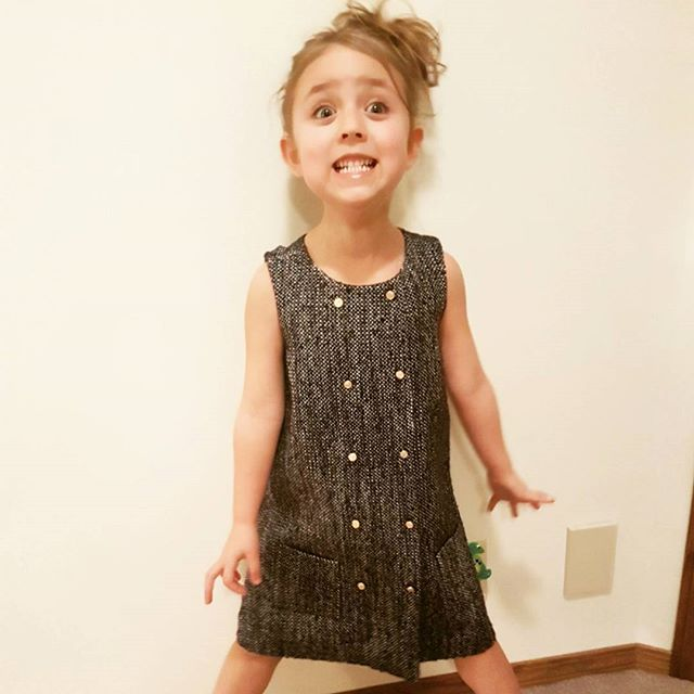 We think she likes it ;) This Calgary nugget is looking chic in her new @brooksbrothers tweed shift dress. Think of #preshrunkca when you're shopping for holiday outfits for the kiddies.