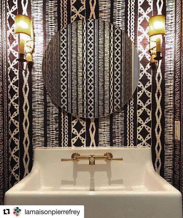 #powderroom #goals #bathroom #wallpaper #blackandwhite #pattern #interiors #sydney showroom open tue-sat 10.30-5 pm @bourkeshireinteriors