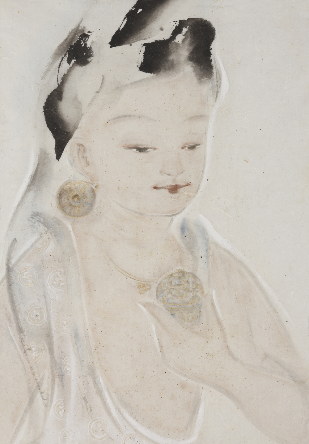 Pan Wenxun 潘汶汛, Duxin 渡心, 2012, Chinese ink and mineral color on rice paper 纸本水墨设色, 46.5 x 33.5 cm