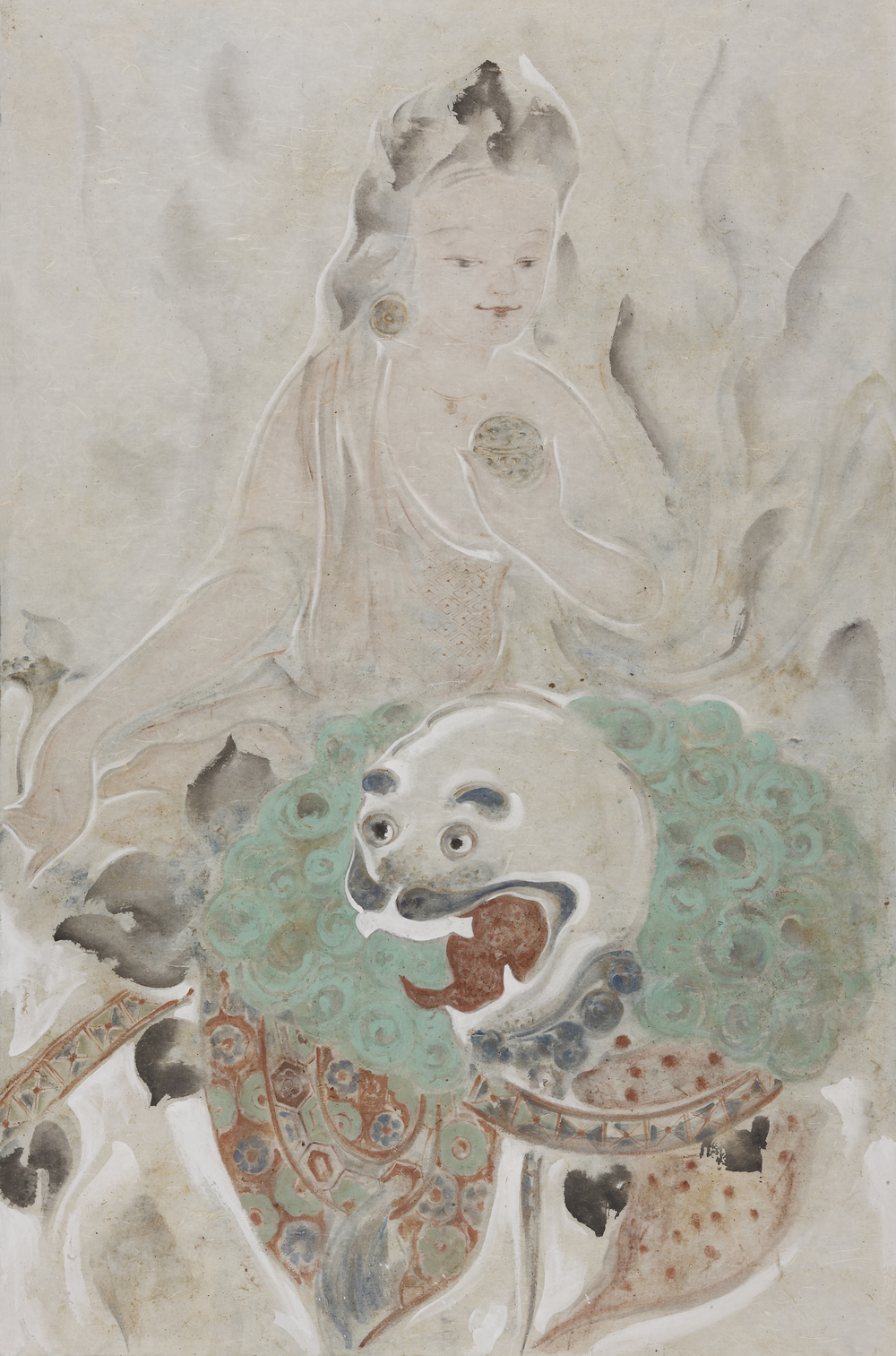 Pan Wenxun 潘汶汛, Green Lion 3 绿狮之三, 2012, Chinese ink and mineral color on rice paper 纸本水墨设色, 146 x 96 cm