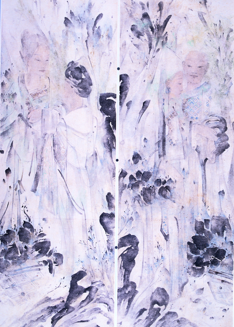 Pan Wenxun 潘汶汛, Picking Lotus 拾荷花的人, 2004, Chinese ink and mineral color on rice paper 纸本水墨设色, 210 x 150 cm