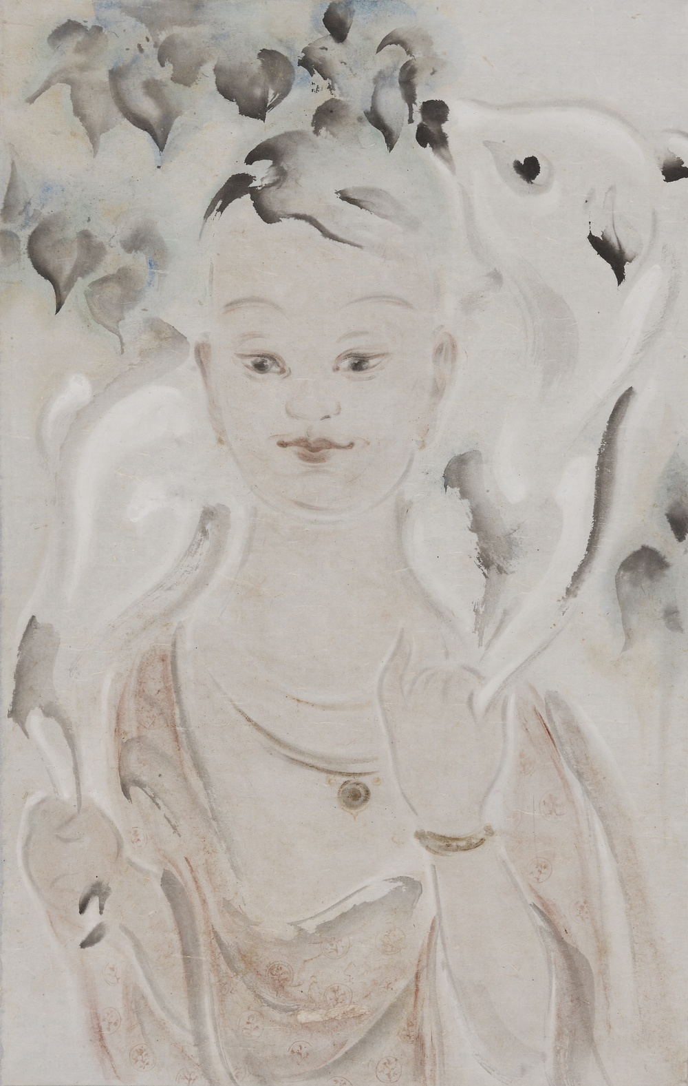 Pan Wenxun 潘汶汛, Crimson Girl 暖鹿, 2012, Chinese ink and mineral color on rice paper 纸本水墨设色, 96 x 61 cm
