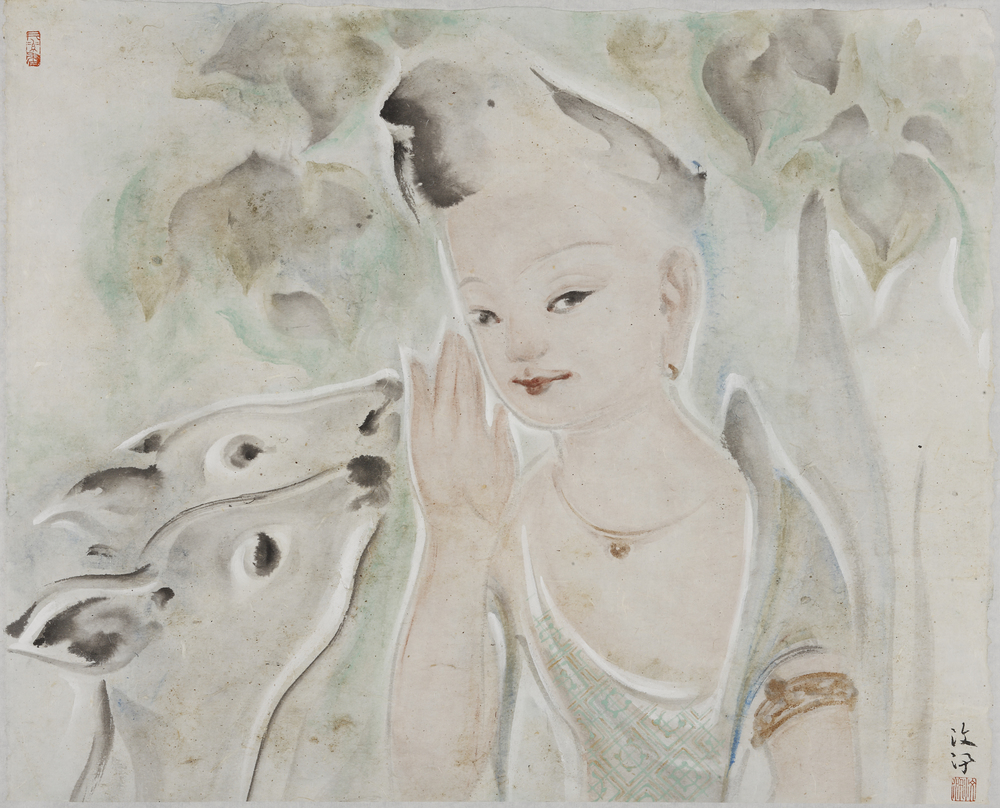 Pan Wenxun 潘汶汛, Two Deer 双鹿, 2012, Chinese ink and mineral color on rice paper 纸本水墨设色, 33 x 60 cm