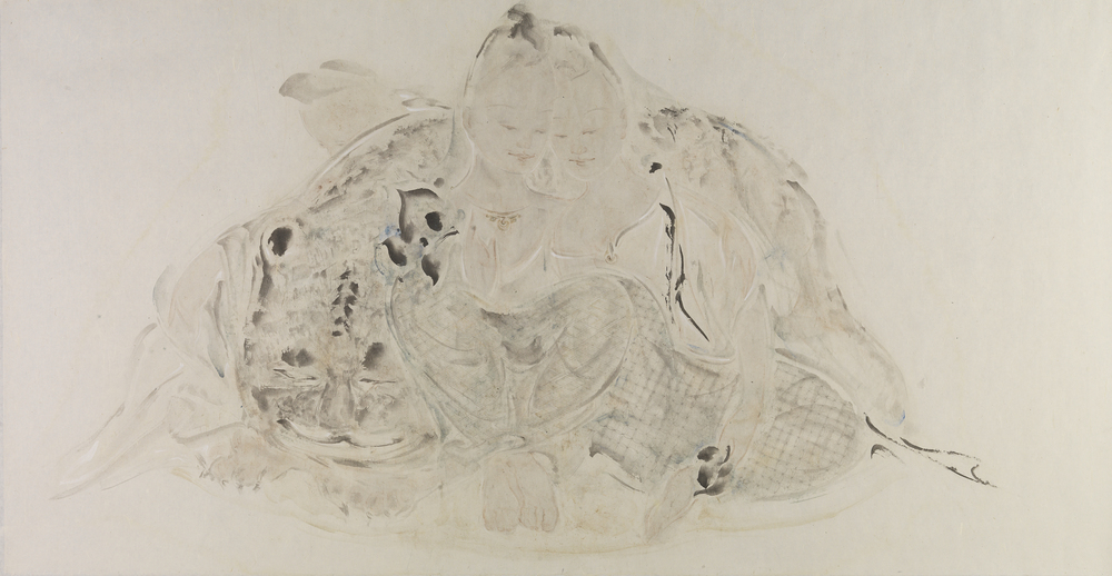 Pan Wenxun 潘汶汛, Four Sleepers 四睡图, 2011, Chinese ink and mineral color on rice paper 纸本水墨设色, 126 x 240 cm