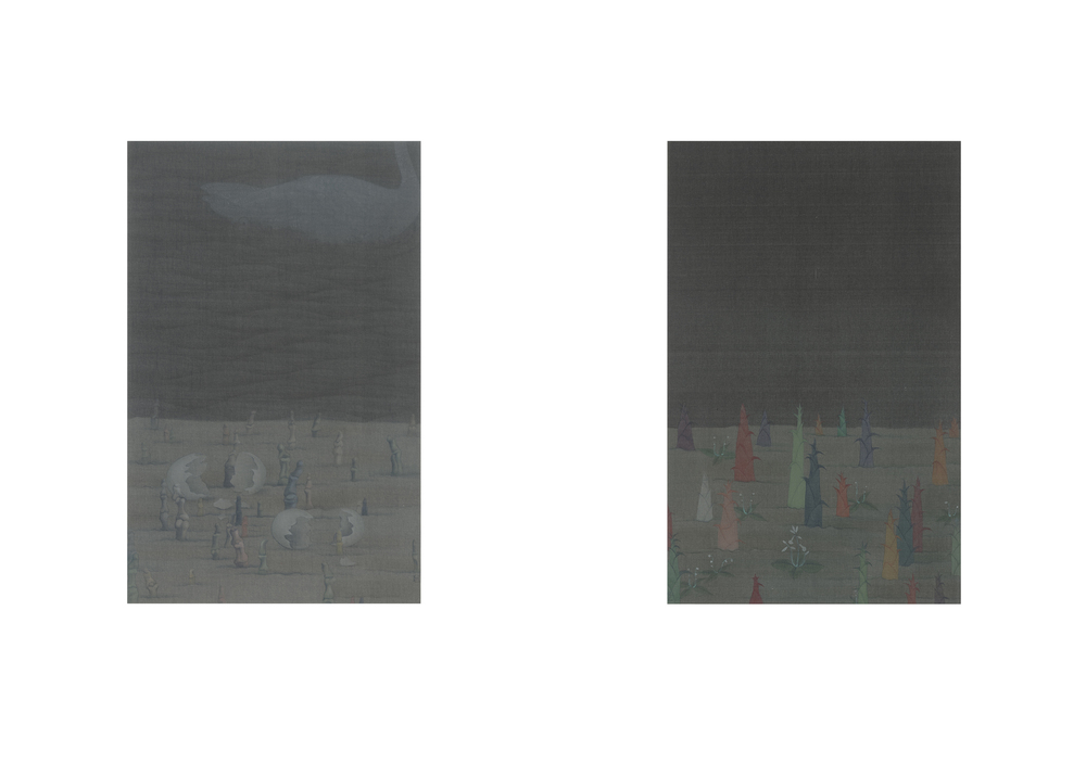 Hao Liang 郝量, Treatise on Bamboo Skeleton Painting-1 竹骨譜-1, 2011, Ink and color on silk 绢本重彩, 30 x 20 cm x 2