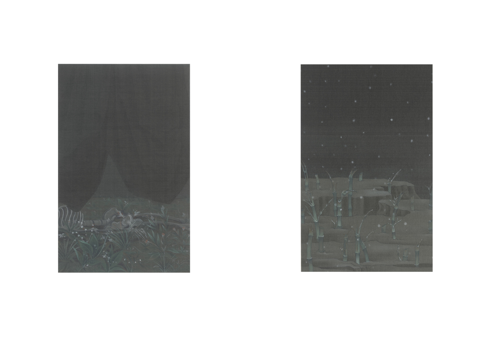 Hao Liang 郝量, Treatise on Bamboo Skeleton Painting-7 竹骨譜-7, 2011, Ink and color on silk 绢本重彩, 30 x 20 cm x 2
